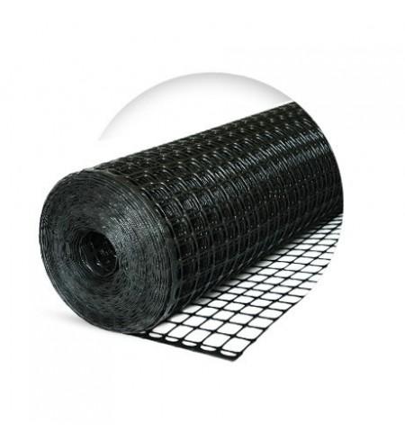 Siatka rabatowa wzmacniana kontenerowa 1,2x25m czarna (oczko 30x30mm)