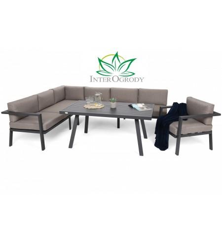 Narożne meble ogrodowe aluminiowe Miami Grey / Taupe