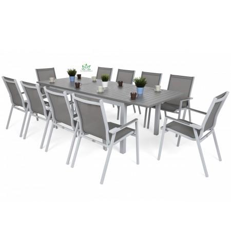 Meble ogrodowe aluminiowe Venosa Atella Light Grey / Medium Grey 10+1