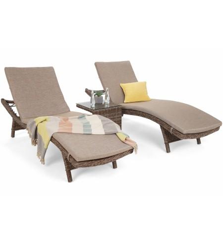 Zestaw leżanek ogrodowych Bora Bora White / Grey ze stolikiem